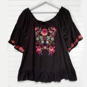 Umgee Boho Floral Embroidered Top J